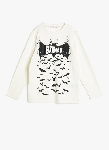 Koton Kids Batman Lisansli Baskili T-Shirt Ekru